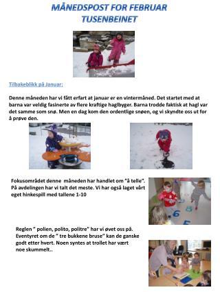 MÅNEDSPOST FOR FEBRUAR TUSENBEINET