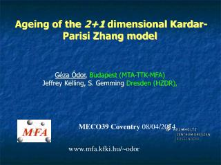 Ageing of the  2+1  dimensional Kardar-Parisi Zhang model