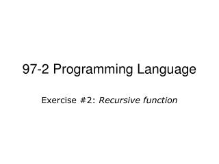 97-2 Programming Language