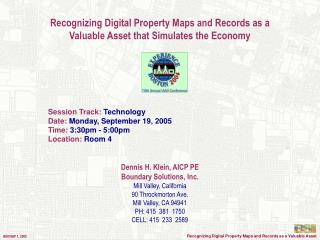 Recognizing Digital Property Maps and Records as a  Valuable Asset that Simulates the Economy