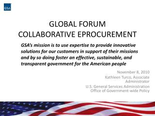 Global Forum Collaborative  EProcurement