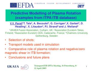 Predictive Modelling of Plasma Rotation (examples from ITPA ITB database)