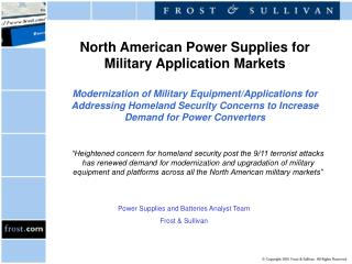 Power Supplies and Batteries Analyst Team Frost & Sullivan