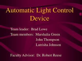 Automatic Light Control Device