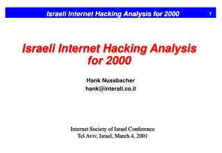 Israeli Internet Hacking Analysis for 2000