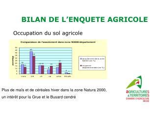 BILAN DE L'ENQUETE AGRICOLE