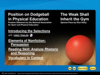 Position on Dodgeball in Physical Education