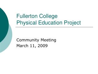 Fullerton College Physical Education Project