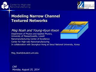 Modeling Narrow Channel Textured Networks