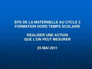 EPS DE LA MATERNELLE AU CYCLE 3 FORMATION HORS TEMPS SCOLAIRE  REALISER UNE ACTION