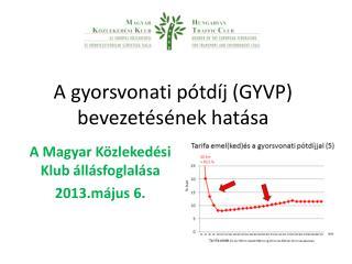 A gyorsvonati pótdíj (GYVP) bevezetésének hatása