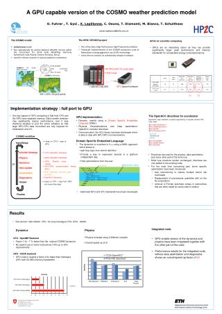 A GPU capable version of the COSMO weather prediction model