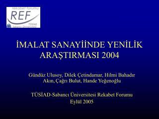 İMALAT SANAYİİNDE YENİLİK ARAŞTIRMASI 2004