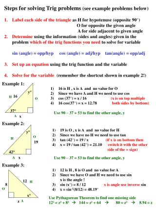 Steps for solving Trig problems  (see example problems below)