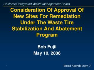 Bob Fujii May 10, 2006