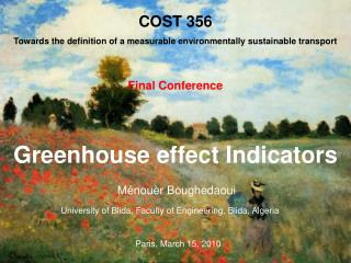 Greenhouse effect Indicators