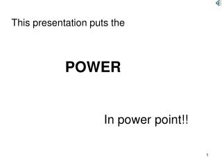 This presentation puts the