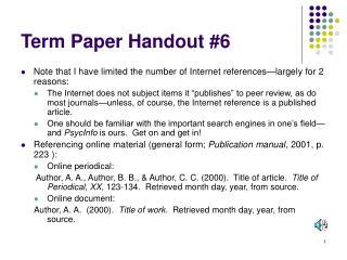 Term Paper Handout #6