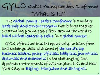 GYLC Global Young Leaders Conference
