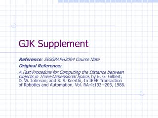 GJK Supplement