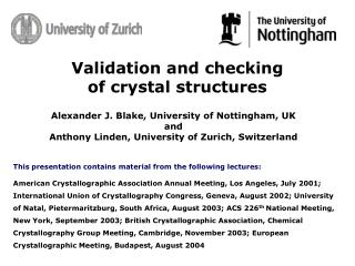 Validation and checking of crystal structures