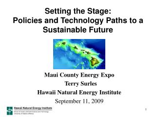 Setting the Stage:   Policies and Technology Paths to a Sustainable Future