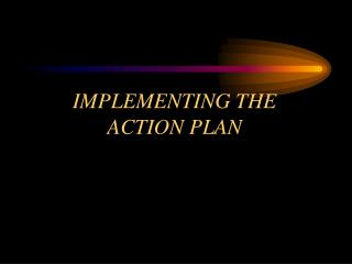 IMPLEMENTING THE ACTION PLAN