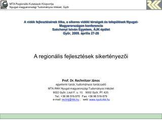 A regionális fejlesztések sikertényezői