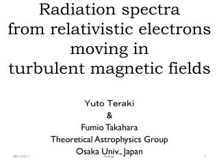 Radiation spectra  from relativistic electrons moving in  turbulent magnetic fields