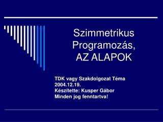 Szimmetrikus Programoz�s, AZ ALAPOK