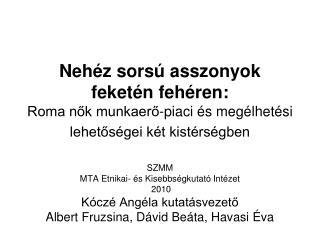 SZMM MTA Etnikai- és Kisebbségkutató Intézet  2010 Kóczé Angéla kutatásvezető