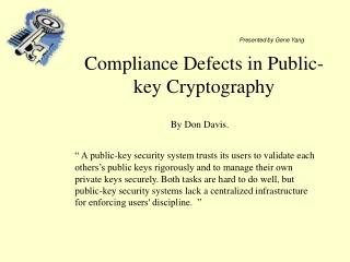 Compliance Defects in Public-key Cryptography