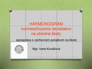 HARMONOGRAM  rozmiestňovania deviatakov na stredné školy