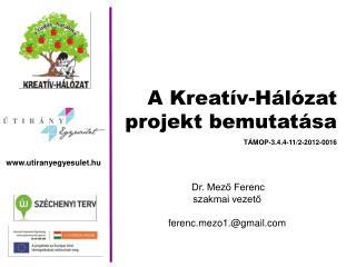 A  Kreatív-Hálózat projekt bemutatása Dr. Mező Ferenc  szakmai vezető  ferenczo1.@gmail