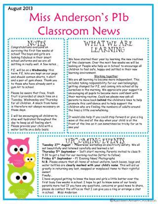 Miss Anderson's P1b Classroom News