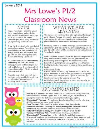 Mrs Lowe's P1/2 Classroom News