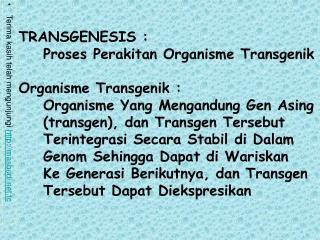 TRANSGENESIS :     Proses Perakitan Organisme Transgenik Organisme Transgenik :