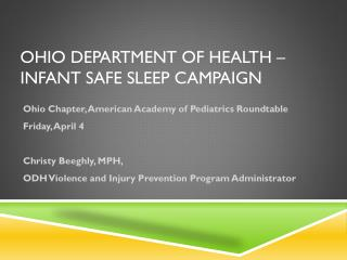 Ohio department of Health – Infant safe sleep Campaign