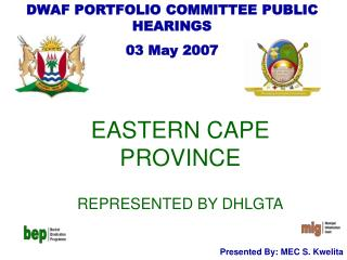 EASTERN CAPE PROVINCE REPRESENTED BY DHLGTA
