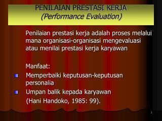 PENILAIAN PRESTASI KERJA (Performance Evaluation)