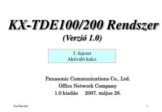 Panasonic Communications Co., Ltd. Office Network Company 1.0  kiadás      2007 . május 28.