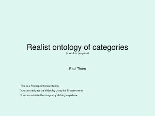 Realist ontology of categories  (a work in progress)