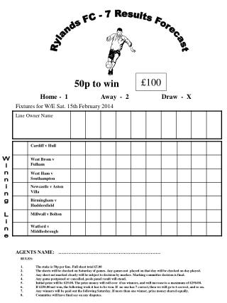 RULES: The stake is 50p per line. Full sheet total £5.00