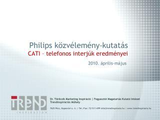 Philips közvélemény - kutatás CATI – telefonos interjúk eredményei