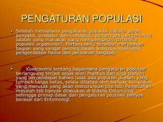 PENGATURAN POPULASI