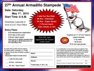 27 th  Annual Armadillo Stampede