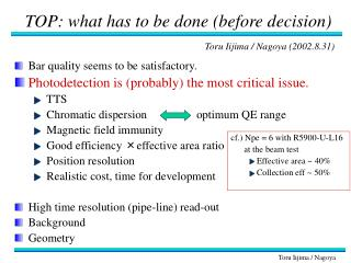 TOP: what has to be done (before decision)