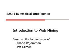 22C:145 Artificial Intelligence