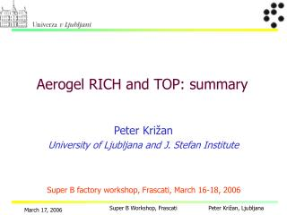 Aerogel RICH and TOP: summary