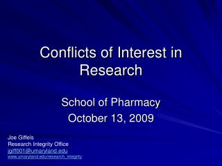 Conflicts of Interest in Research